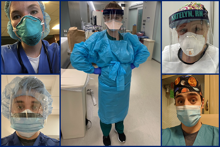 a collage of nurses in personal protective equipment