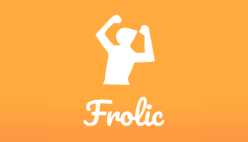 Frolic app logo white illustration silhouette of person with arms over head, cheering.