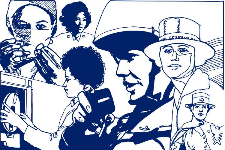 illustration of nurses in various roles throughout history