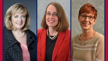 headshots of Dr. Mary Ellen Smith Glasgow, Dr. Melissa Kalarchian, and Dr. Rebecca Kronk