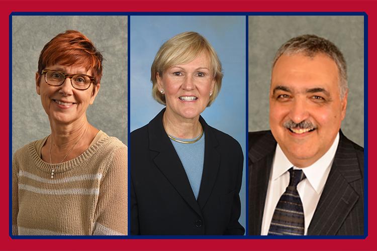 headshots of Dr. Rebecca Kronk, Dr. Kathleen Sekula, and Dr. Rick Zoucha
